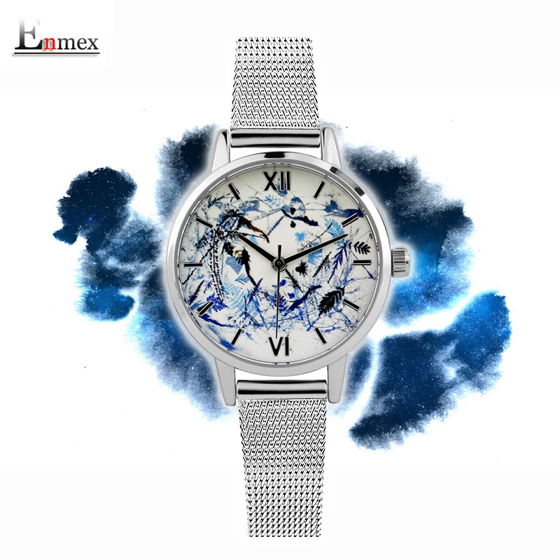 2017 lady gift Enmex  abstract patterns Elegant temperam with simple unique design for young women fashion quartz watches 2017 new gift enmex hit color steel frabic strap creative dial changing patterns simple fashion for young peoples quartz watches