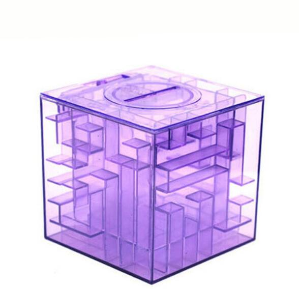 1PC 3D Maze Magic Cube Puzzle Speed Labyrinth Rolling Ball Piggy Bank Toys Game Cubos Magicos Baby Kid Money Boxes MA 021
