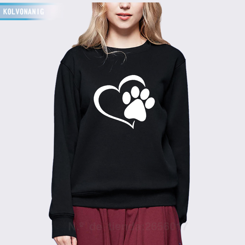 KOLVONANIG Winter Love Cat Paws Printed Hoodies Casual Funny Sweatshirts For Lady O-Neck Long Sleeve Womens Tracksuits Hoody