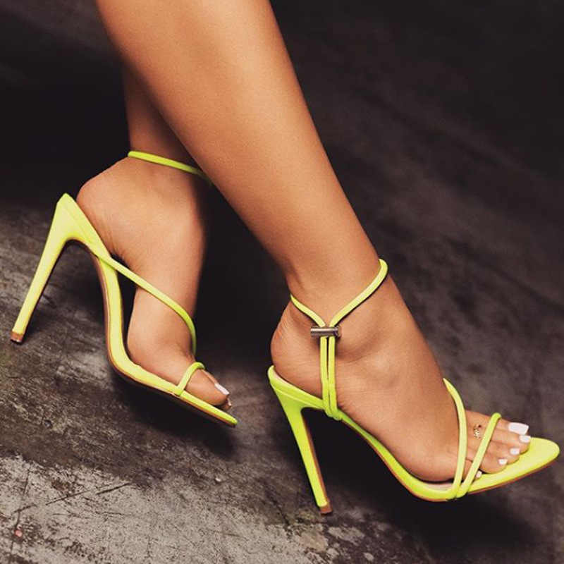 e32f23a1122 Women High Heel Shoes Woman Pointed Toe Neon Yellow Pink Sandals Lady Sexy  Wedding Pumps Heeled Footwear Heels Shoes Size 35-42