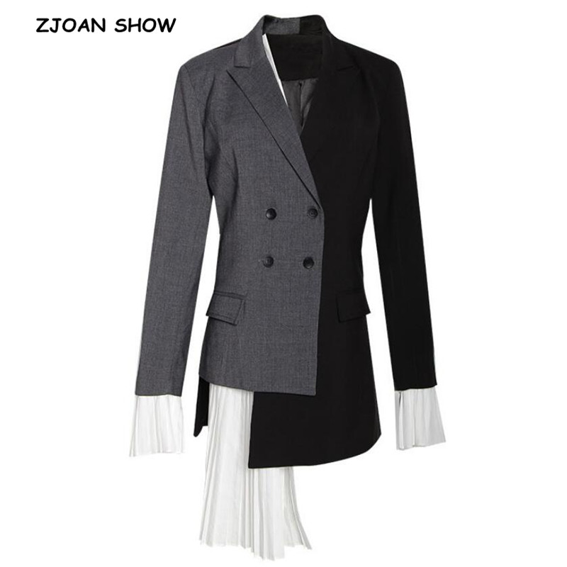 2019 Spring New Women Contrast Color Stitching Pleated Asymmetrical Blazer Retro Mid Long Suit Slim Fit Jacket Coat Outerwear