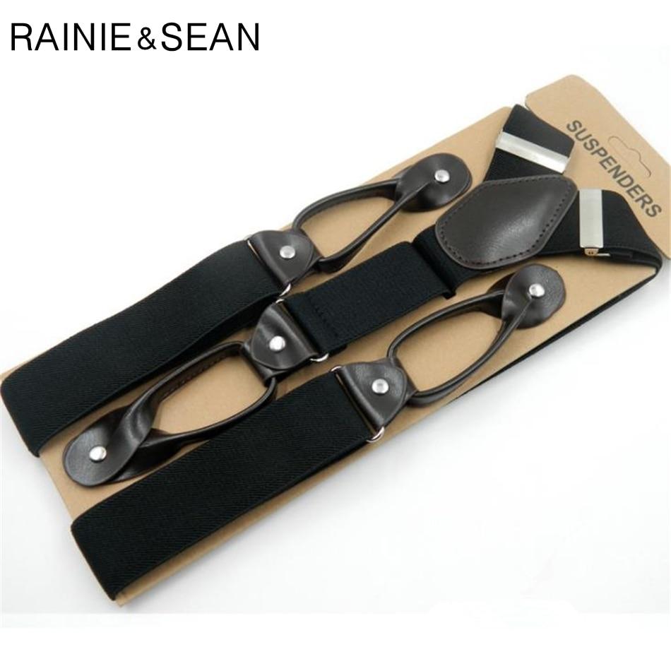 RAINIE SEAN Button Suspenders Men Solid Black Men'S Suspenders For Shirt Vintage Pants Strap Mens Belt For Trouser 120 3.5cm