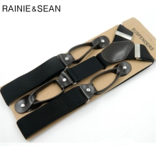 RAINIE SEAN Button Suspenders Men Solid Black MenS for shirt Vintage Pants Strap Mens Belt For Trouser 120 3.5cm