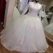 Real Photo Hing Neck Ball Gown Wedding Dresses 2017 Lace Appliqued Long Sleeve Muslim Wedding Dress Princess Islamic