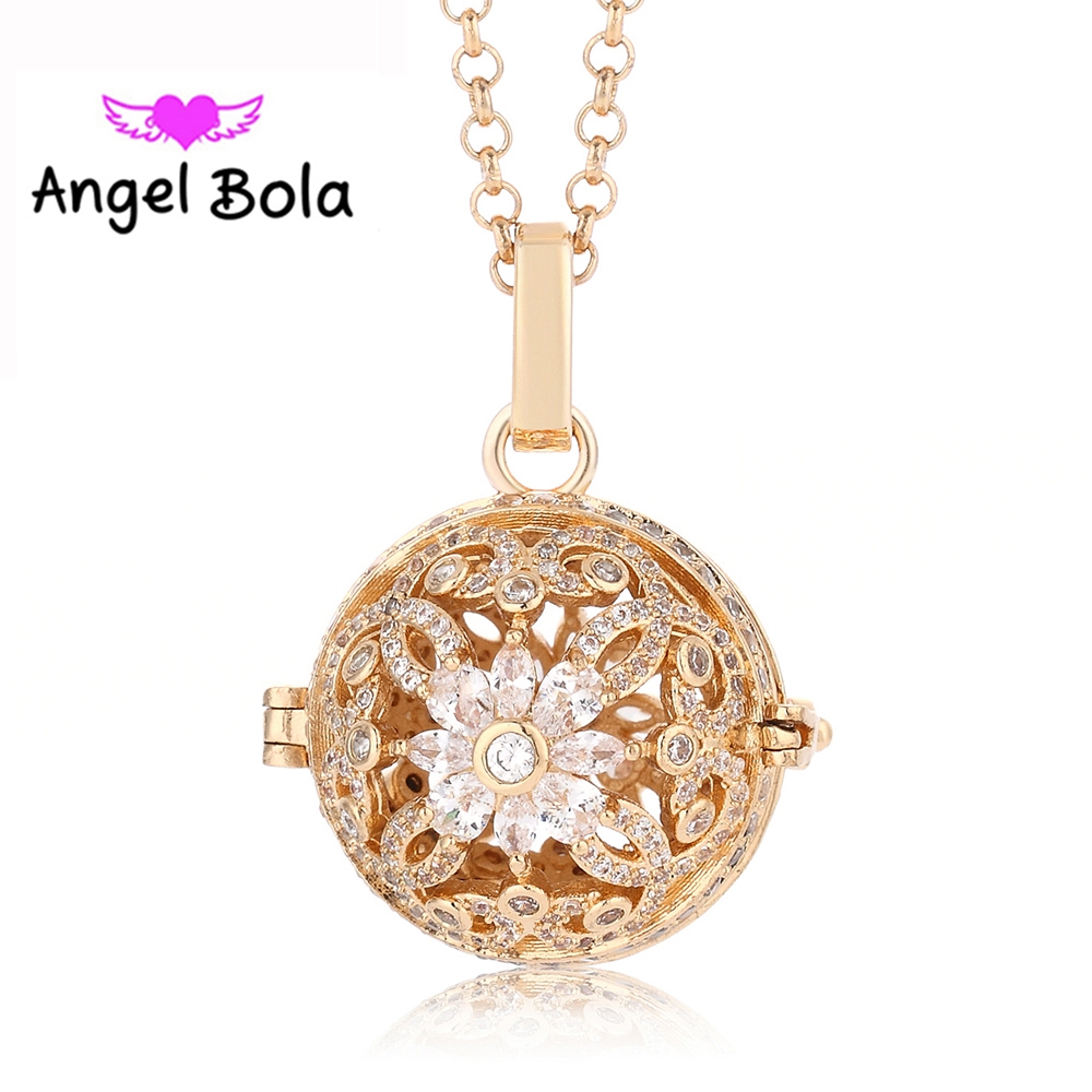 New CZ Necklace 20.5mm Cage Zircon Jewelry Engelsrufer Angel Bola Copper Sound Pendant for Women Gift L094