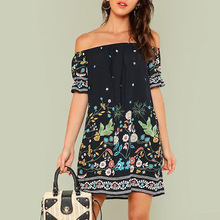 2019 New Sexy Women Dress Off Shoulder Floral Chiffon Dress Boho Short Casual Loose Party Beach Dresses Vestidos de fiesta 2019 new sexy women dress summer off shoulder floral print chiffon dress boho style short party beach dresses vestidos de fiesta