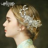 Handmade Bridal White Bauhinia Flower Hair Comb Wedding Rhinestone Headpiece Women Party Headdress Combs Acessorios Bride