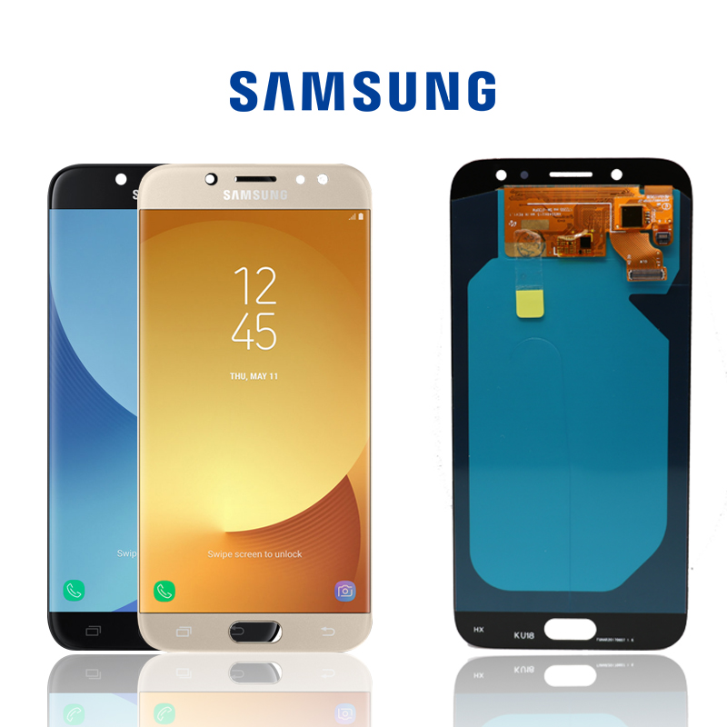 "NEW ORIGINAL 5.5"" SUPER AMOLED Display For SAMSUNG Galaxy J7 Pro LCD J7 2017 J730 J730F LCD Digitizer Assembly Replacement Parts-in Mobile Phone LCD Screens from Cellphones & Telecommunications"