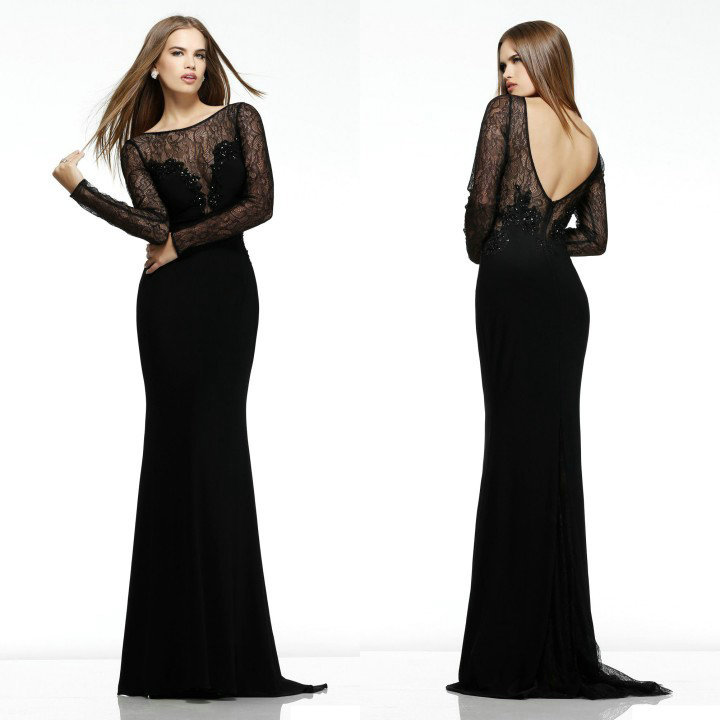 05ddb3b2a785 2014 Sexy V Style Open Back Long Sleeve Prom gowns Full Length Beaded Black  Sheer Sleeves Lace Evening Dress