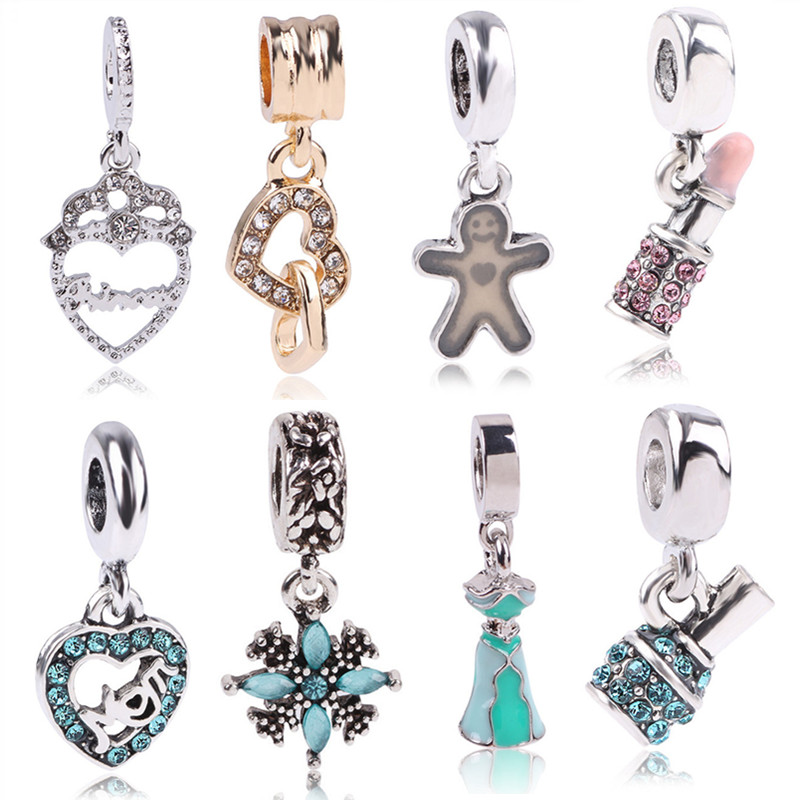 Söt snöflinga läppstift nagellack hängande charm pärlor Fit Pandora armband Original Autentiska lyx DIY smycken charm