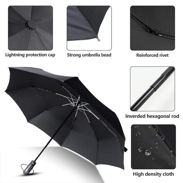 Windproof 3 Folding Automatic Umbrella Rain Women Dark Grid Handle Sun Umbrellas For Men Waterproof 8K Aluminum Alloy Parasol