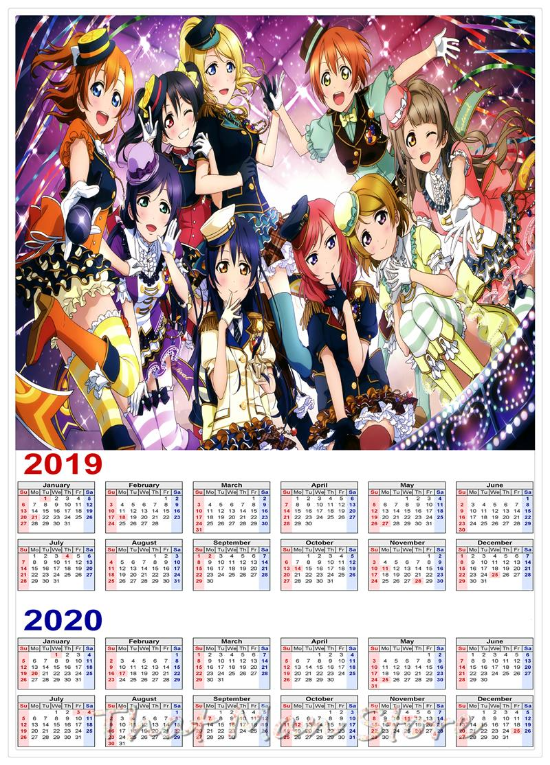 Anime Calendar 2019.Us 2 1 37 Off Quadratic Element 2019 2020 Japanese Anime Calendar Poster White Kraft Paper Poster Wall Sticker Home Decora Can Be Customized In Wall