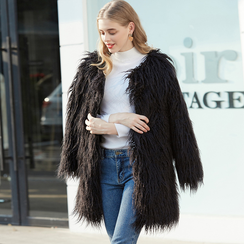 ZADORIN 2019 High Quality Harajuku Hairy Long Faux Fur Coat Women Plus Size Slim Boho fur