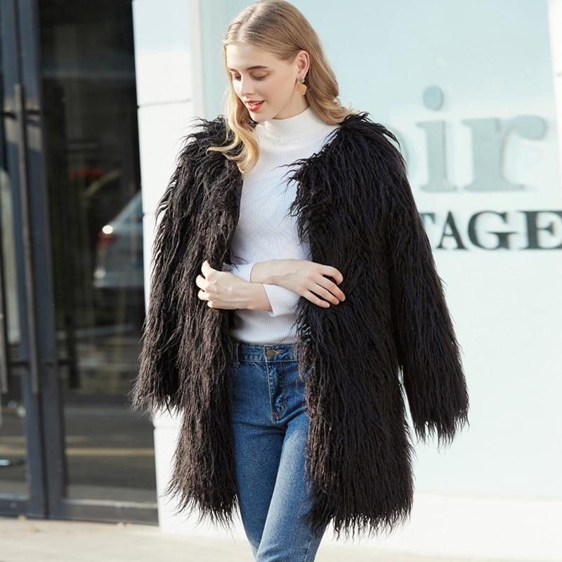 ZADORIN 2019 High Quality Harajuku Hairy Long Faux Fur Coat Women Plus Size Slim Boho fur
