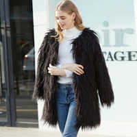 ZADORIN 2019 High Quality Harajuku Hairy Long Faux Fur Coat Women Plus Size Slim Boho fur Coats Shaggy Jacket veste fourrure