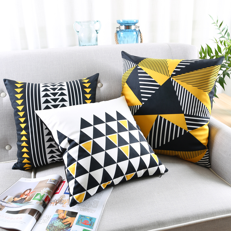 Soft Yellow Decorative Pillows : black and yellow geomatric cushion Decorative Soft Corduroy Square Sofa Cushion Cover Throw ...