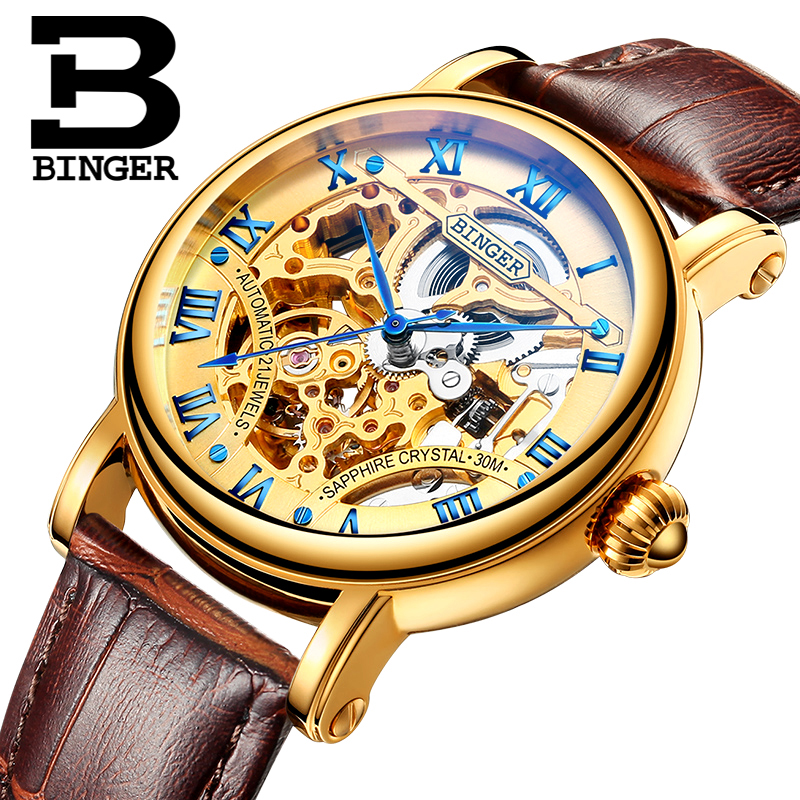Switzerland luxury men's watche BINGER brand Hollow Out Mechanical Wristwatches sapphire full stainless steel B-5066M-6 switzerland luxury men s watche binger brand hollow out mechanical wristwatches sapphire full stainless steel b 5066m 6