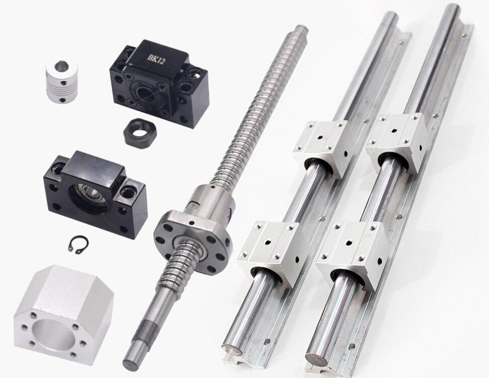 1 pcs SFU1605 vis à billes-L 400mm + 2 pcs linéaire rail de guidage SBR16-L 400mm + 4 pcs SBR16UU + 1 ensemble BF/BF12 + coupleur 6.35*10mm