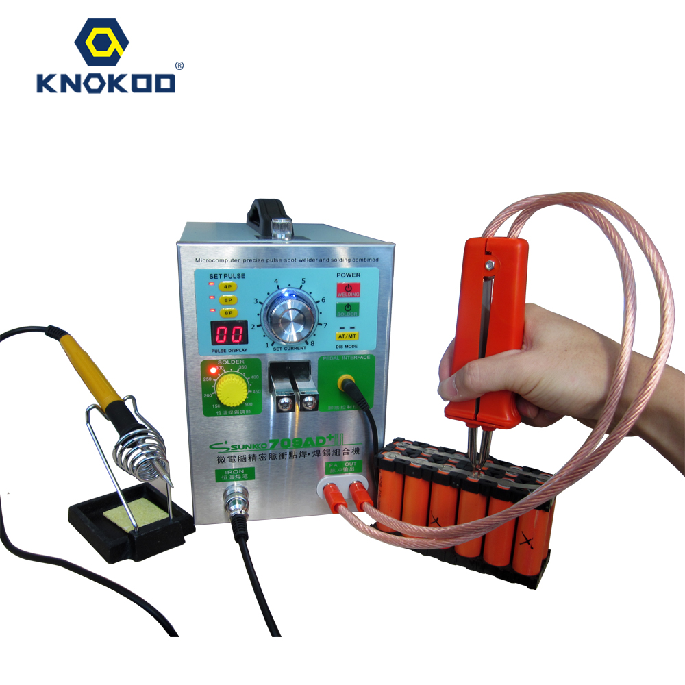 SUNKKO 4 IN1 Double LED Moveable Mig Pulse Battery Spot Weldering Machine Kit 709AD+ with 70B Soldering Iron