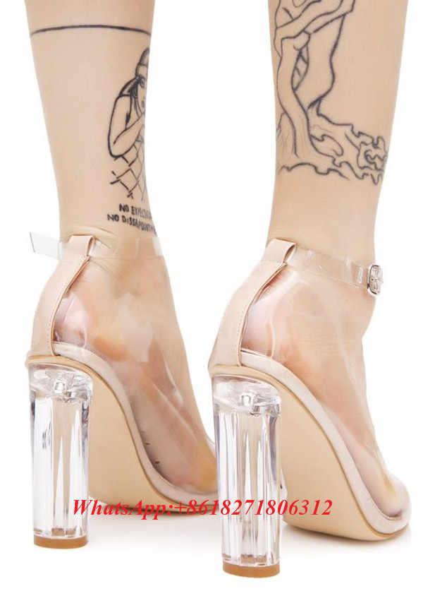 91010aff3f ... Sexy Fashion Designer Stunning See-thru Heels Clear PVC Lucite Block  Heel Pumps Ankle Strap