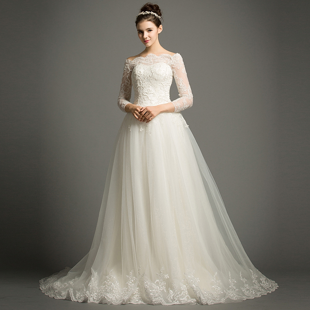 Dhg624 Elegant Beautiful Long Lace Wedding Dresses Bridal Gowns