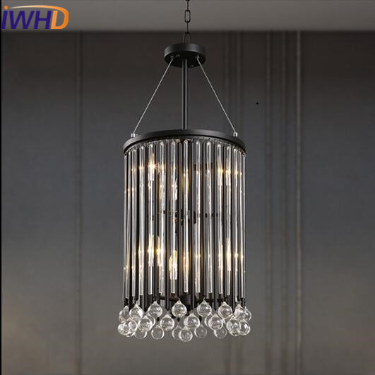 IWHD Crystal Loft Vintage Industrial Lighting Hanging Lamp LED 6 Heads Retro Iron Black Pendant Light Fixtures Lighting Stairs new loft vintage iron pendant light industrial lighting glass guard design bar cafe restaurant cage pendant lamp hanging lights