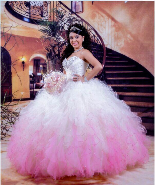 Vestidos De 15 años blancas y rosadas Quinceanera Dresses 2016 Vestidos De  bola del Organza perlas