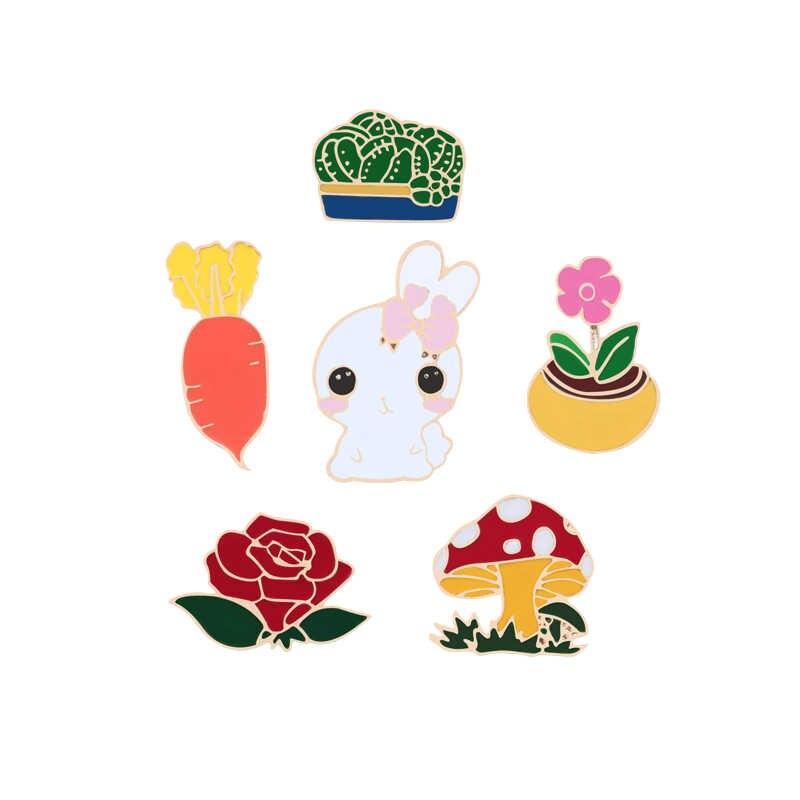 9 ชุดสไตล์แฟชั่น Badge เข็มกลัดและเคลือบ Pins หมวกแคคตัส Rose Rabbit Ice Cream Dolphin ของขวัญเด็กผู้หญิงเข็มกลัด PARTY