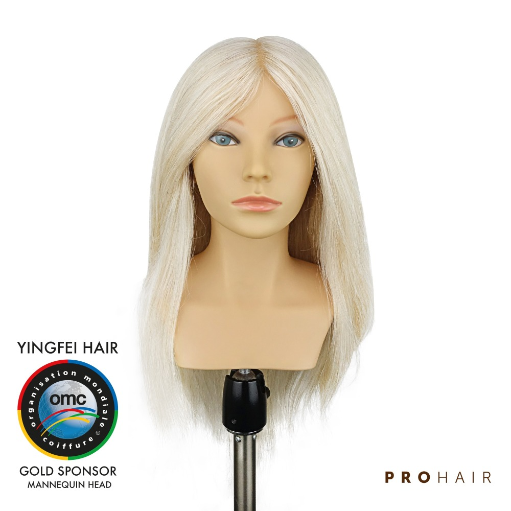 PROHAIR OMC Approved 40CM 16 Human With Goat Hair Competition Mannequin Head Hairdressing Mannequin Doll Head