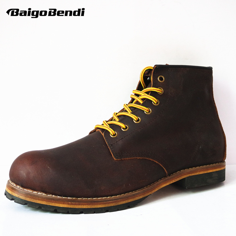 38-45 Full Grain Leather Mens Snow Riding Boots Lace Up Work Boots Winter  Fashion Shoes Man Size