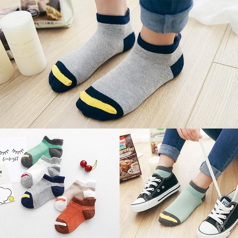 10Pcs/lot Spring Summer children's socks Mesh Cotton Socks for a boy Striped Solid socks for children Girls Kids Sport Socks 1