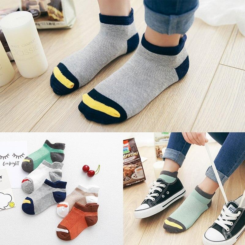 10Pcs/lot Spring Summer Children's Socks Mesh Cotton Socks For A Boy Striped Solid Socks For Children Girls Kids Sport Socks