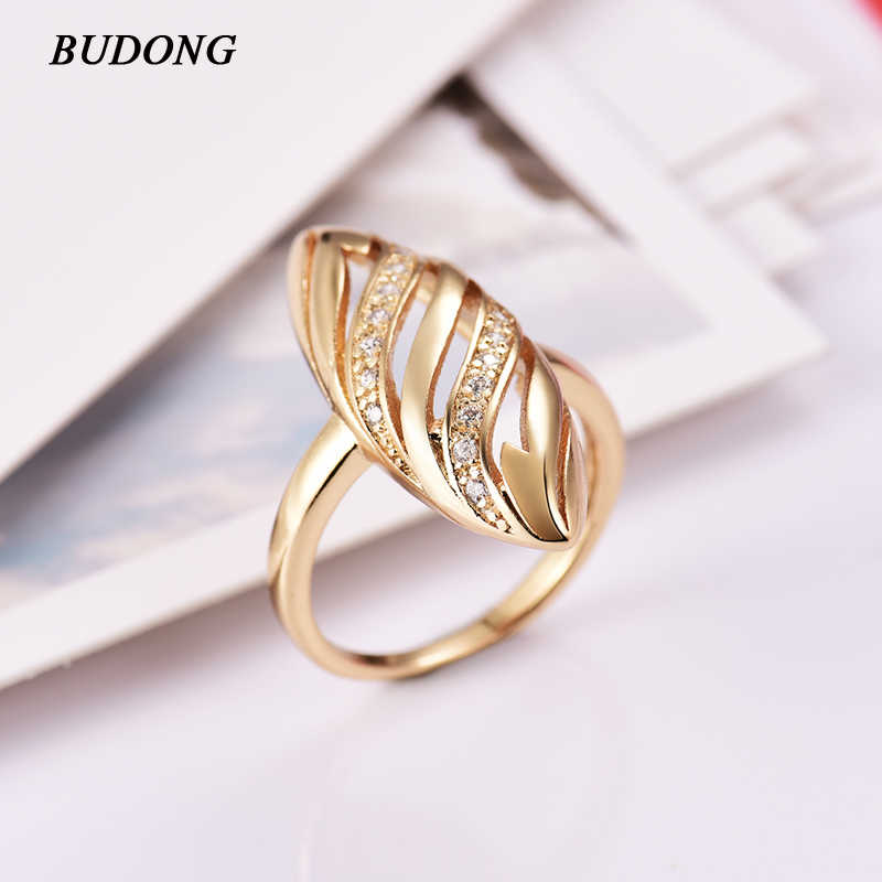 BUDONG Women Weddings Rings Gold-Color Trendy Highway Geometric Rings for Women Punk Party Jewelry Engagement Bijoux XUA077