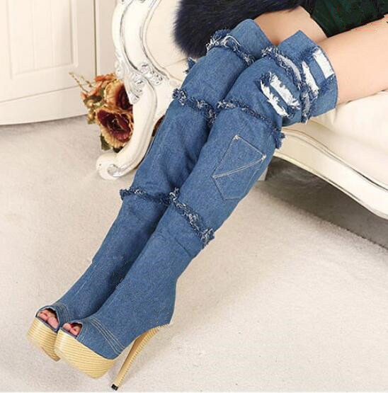 Peep-toe denim thigh high boots hole jeans tassels platform boots super high heels blue over the knee boots size 35-42