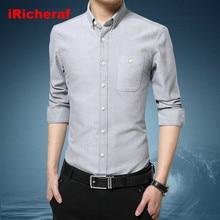 iRicheraf Mens Shirts 2019 Plus Size M-5XL Long Sleeve Solid White Shirt Ropa De Hombre Smart Casual Grey Pink Top Quality