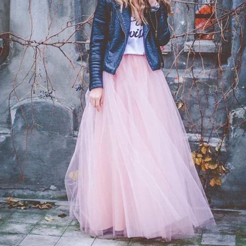 7 Layer Skirt 100CM Length Long Maxi Skirts for Women Bohemian Tutu Tulle Skirts Solid Empire Ball Gown Skirts Womens saia