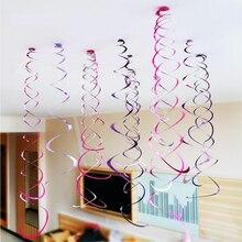Espiral de colgar decorativo de techo metálico para cumpleaños, 6 uds., para Baby Shower, boda, Halloween, fiesta de cumpleaños