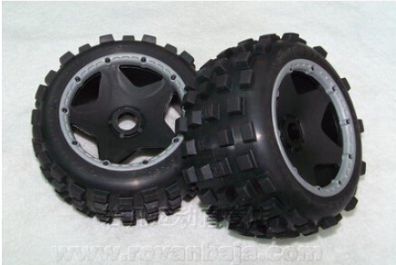 1 5 Scale RC KM Rovan HPI Baja 5B Buggy Knobby Rear Wheels and Tires 2