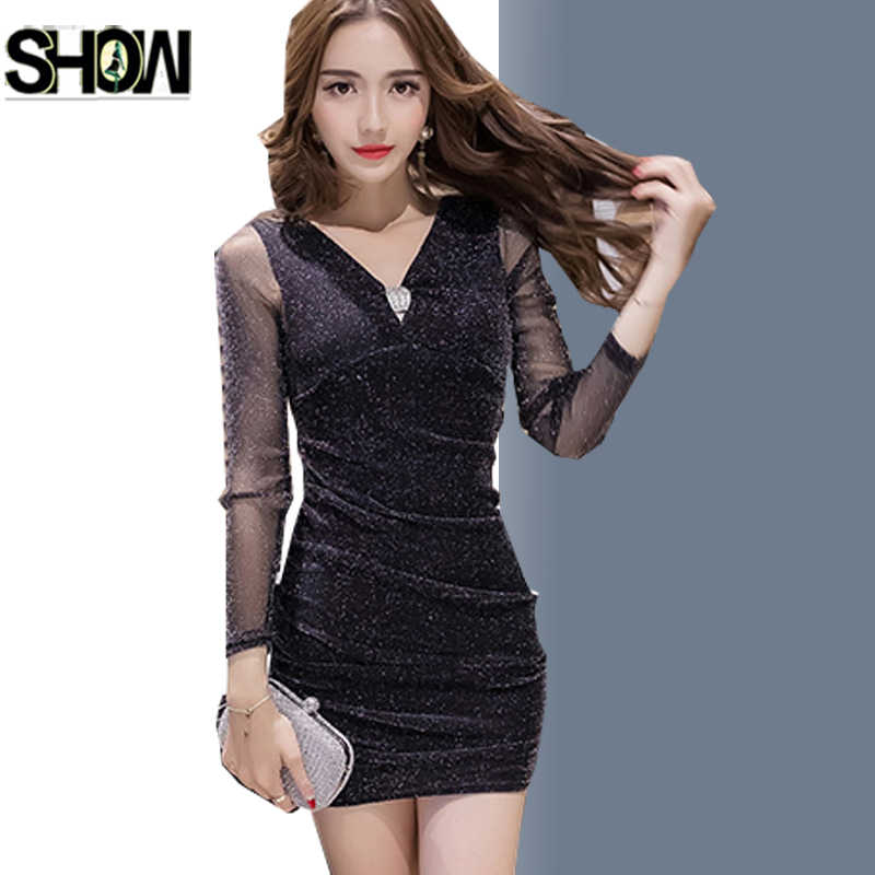 f38d080cdd30 Purple Red Black Mesh Dresses New Korean Style Women Autumn Winter Basic  Wear Ladies Party Work
