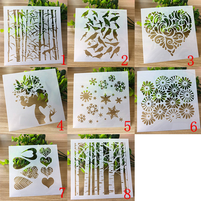 8 Types Plant Layering Stencils for DIY Scrapbooking Photo Album Decoration Cake Hollow Embellishment