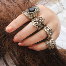 Midi Ring Sets New 2017 Vintage Black Stone Knuckle Rings for Women Anillos Mujer Jewellery(China)