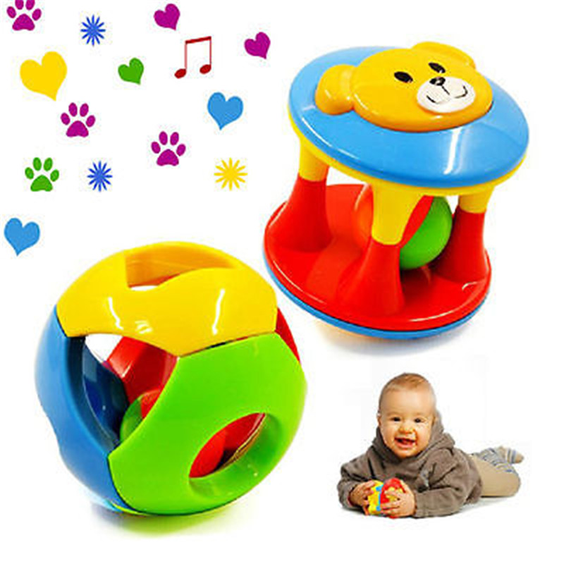2pcs Baby Newborn Little Loud Jingle Rattle Ball Grasp Toy