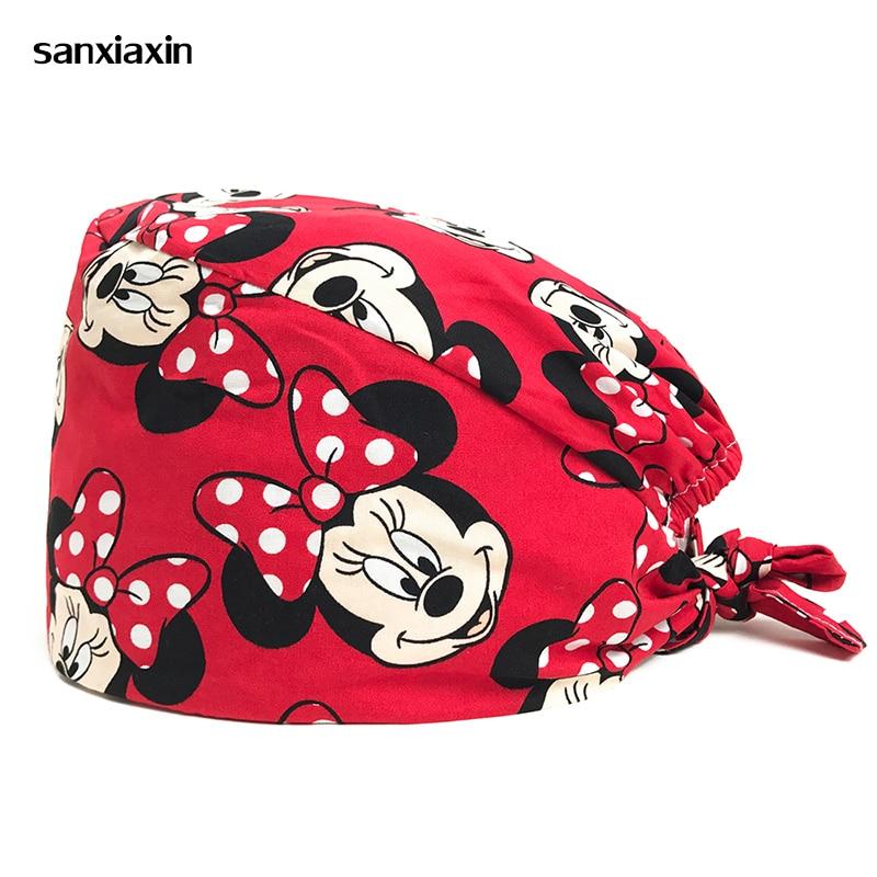Wholesale 100%Cotton New Print Adjustable Pet Hospital Work Hats Surgical Caps Women Men Doctor Nurse Caps Beauty Pharmacy Hats