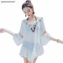 Qiukichonson Ladies Blouses Summer Tops Bohemian Hollow Out Crochet Beach Cover Up Sweet Flare Sleeve Transparent Long Shirts