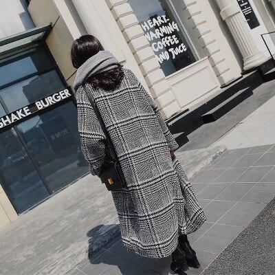 Tranchée Hiver Manteaux Laine Vintage Manches Plaid Occasionnel À Lâche Automne Pardessus Longues Outwear Manteau Long En Femelle Femmes fwTaSq16a