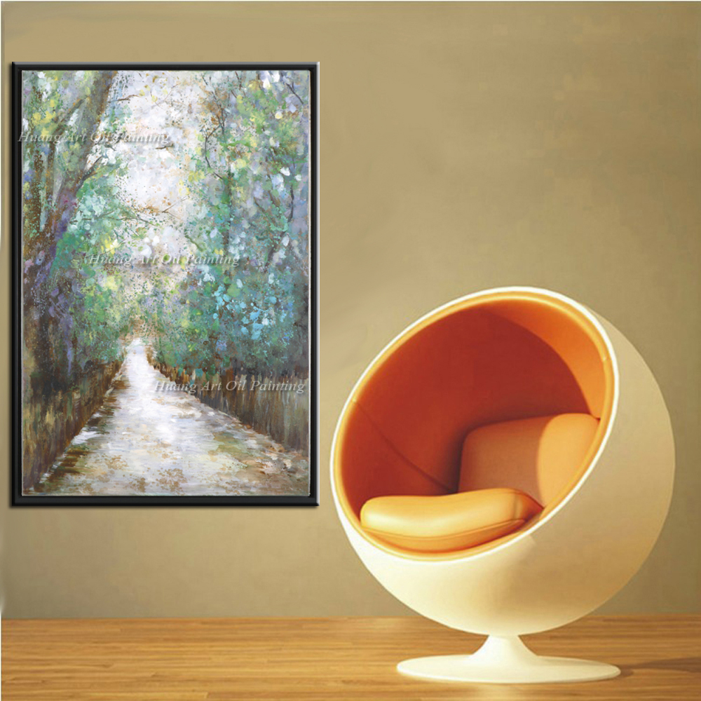 Newest handmade oil painting on canvas forest road spring - Oil painting ideas for living room ...