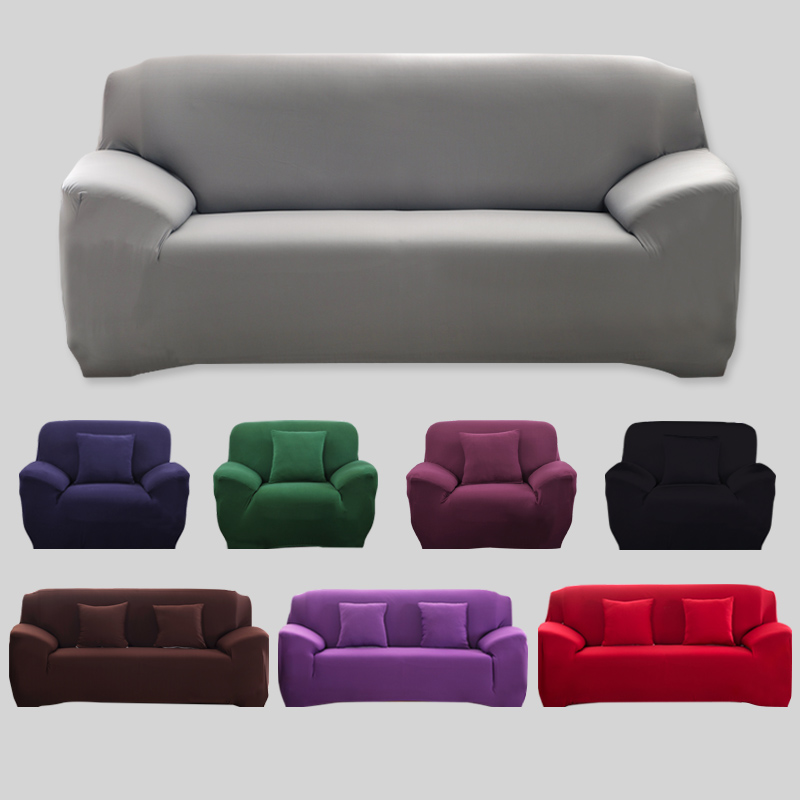 Solid Color Sofa Cover Elastic Stretch Washable Couch