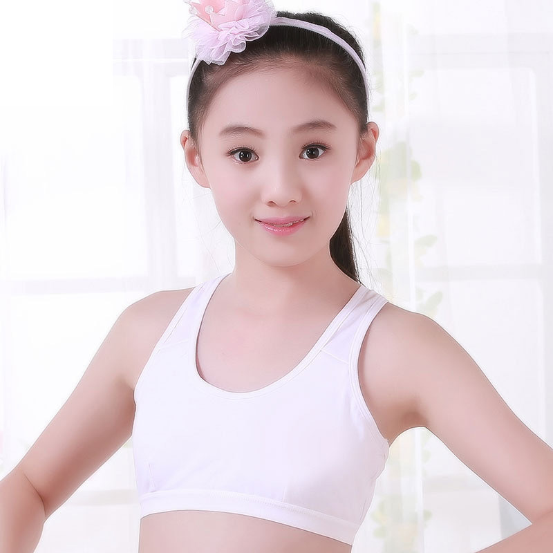 Puberty Girls Training Bra Soft Crop Top No Rim Vest Bra Anti Peeping Underwear