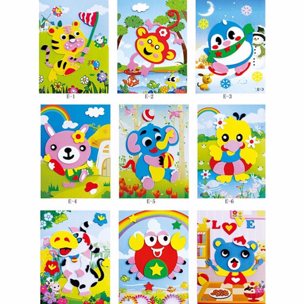 Detail feedback questions about 20pcs 3d eva foam sticker puzzle baby diy cartoon animal series e early learning education toys for children wholesale on