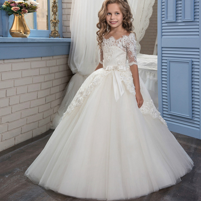 9dd449fa0c1ac 2018 New Off Shoulder Flower Decor Beading Girl Ball Gown Lace Appliques  Half Sleeves Kids First Communion Dresses 2-13 Year Old